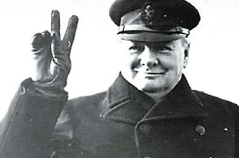 Image: Sir Winston Churchill famous victory sign
